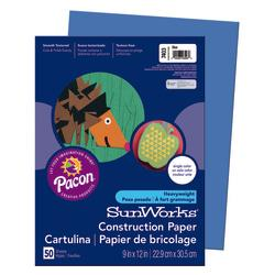 SunWorks(R) Construction Paper, 9in. x 12in., Blue, Pack Of 50