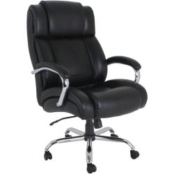 Lorell(TM) UltraCoil Comfort Big And Tall Leather Chair, Black
