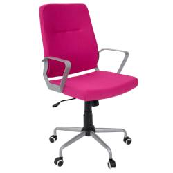 LumiSource Zip Fabric High-Back Office Chair, Hot Pink/Silver