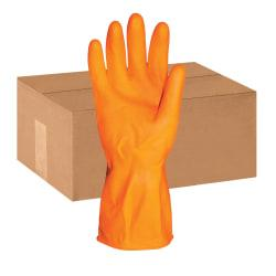 ProGuard Deluxe Flock Lined 12in. Latex Gloves - Large Size - Latex - Orange - Embossed Grip, Extra Heavyweight, Durable, Acid Resistant, Alcohol Resistant, Alk