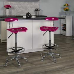 Flash Furniture Vibrant Drafting Stool, Pink/Chrome