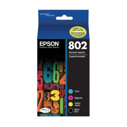Epson(R) DuraBrite(R) T802120-BCS Black/Cyan/Magenta/Yellow Ink Cartridges, Pack Of 4