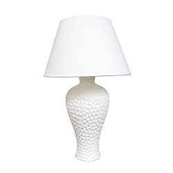 Simple Designs Curvy Ceramic Table Lamp, 19 1/2in.H, White Shade/White Base