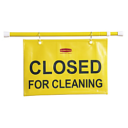 Rubbermaid(R) Closed For Cleaning Hanging Safety Sign