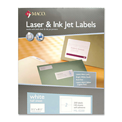 MACO(R) White Inkjet All-Purpose Shipping Labels, MML-0200, 5 1/2in. x 8 1/2in., Pack Of 200
