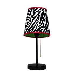LimeLights Fun Prints Funky Table Lamp, 15in.H, Zebra Shade/Black Base