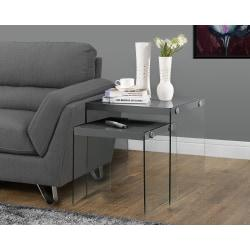 Monarch Specialties 2-Piece Nesting Table Set With Glass Base, Square, Glossy Gray
