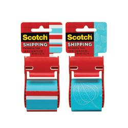 Scotch(R) Decorative Shipping Packaging Tape With Dispenser, 2in. x 13.8 Yd., Stripes/Leaf With Dots (No Design Choice)