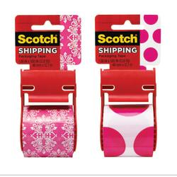Scotch(R) Decorative Shipping Packaging Tape With Dispenser, 2in. x 13.8 Yd., Zig Zag/Pink Polka Dots (No Design Choice)