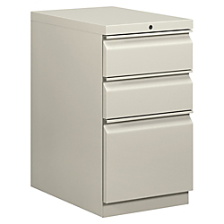 basyx(R) by HON(R) Mobile Pedestal Vertical Filing Cabinet, 3 Drawers, 28in.H x 15in.W x 20in.D, Light Gray