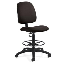 Global(R) Goal(TM) Armless Drafting Stool, 48in.H x 21in.W x 24 1/2in.D, Asphalt Fabric
