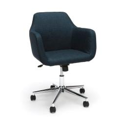Essentials By OFM Upholstered Mid-Back Home Office Chair, Blue/Chrome