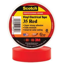 3M(TM) 35 Color-Coded Vinyl Electrical Tape, 1.5in. Core, 0.75in. x 66ft., Red, Pack Of 10