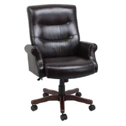 Global Office Furniture Bonded Leather High-Back Chair, Brown