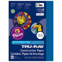 Tru-Ray(R) Construction Paper, 50% Recycled, 9in. x 12in., Blue, Pack Of 50
