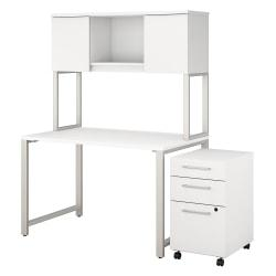 Bush Business Furniture 400 Series Table Desk With Hutch And 3 Drawer Mobile File Cabinet, 48in.W x 30in.D, White, Premium Installation