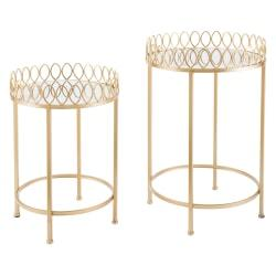 Zuo Modern Nesting Tray Tables, Round, Mirror/Gold, Set Of 2 Tables