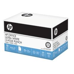 HP Office Ultra White Paper, 3-Hole Punched, Letter Size Paper, 20 Lb, Ream Of 500 Sheets, Case of 10 Reams
