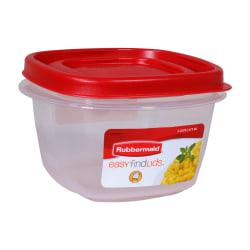 Rubbermaid(R) Easy Find(TM) Lid Food Storage Container, 2 Cups, Square, Red/Clear