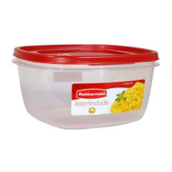 Rubbermaid(R) Easy Find(TM) Lid Food Storage Container, 14 Cups, Square, Red/Clear