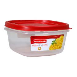 Rubbermaid(R) Easy Find(TM) Lid Food Storage Container, 5 Cups, Square, Red/Clear