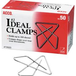 ACCO(R) Ideal Paper Clamp (Butterfly Clamp), Smooth Finish, #2 Size (Small), 50/Box - Small - No. 2 - 100 Sheet Capacity - 50 / Box - Silver