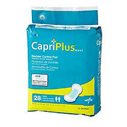 Capri Plus Bladder Control Pad Incontinent Liners, Ultra Plus, 8in. x 17in., White, Case Of 28