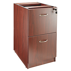 Lorell(R) Essentials Series 22in.D 2-Drawer Fixed Pedestal File Cabinet, Mahogany