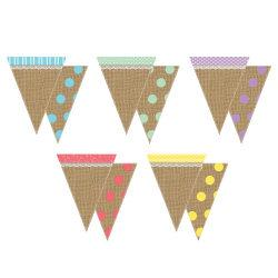 Teacher Created Resources Shabby Chic Pennants, 8 3/4in. x 6 3/4in., Multicolor, Pre-K - Grade 8, Pack Of 16