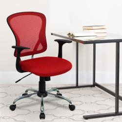 Flash Furniture Mesh Mid-Back Task Chair, Red/Black/Chrome