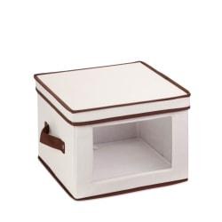 Honey-Can-Do Canvas Dinnerware Storage Box, Medium, 8 1/2in.H x 12in.W x 12in.D, Brown/Natural