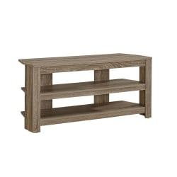 Monarch Specialties TV Stand, 3-Shelf, For Flat-Panel TVs Up To 40in., Dark Taupe