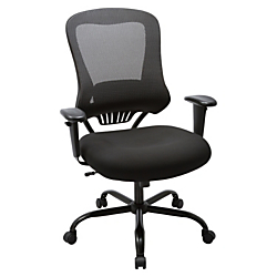 Lorell(R) Big and Tall Executive Mesh/Bonded Leather Chair, Black
