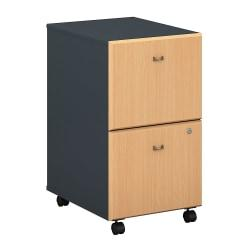 Bush Business Furniture Office Advantage 2 Drawer Mobile File Cabinet, Beech/Slate, Standard Delivery