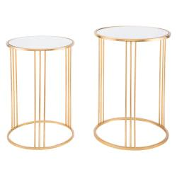 Zuo Modern Magri Nesting Tables, Round, Gold, Set Of 2 Tables