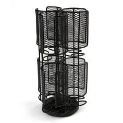 Mind Reader 2-Tier Mesh Spinning Tassimo Storage Rack, 12 3/4in. x 6 1/2in., Black