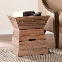 Southern Enterprises Dexter Geometric Storage Accent Table, Hourglass, Weathered Oak