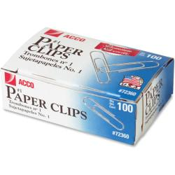 ACCO(R) Premium #1 Paper Clips, Smooth Finish, #1 Size 1-9/32in., 100/Box - No. 1 - 10 Sheet Capacity - Galvanized, Corrosion Resistant - 1000 / Pack - Silver -