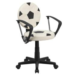 Flash Furniture Vinyl Low-Back Task Chair With Arms, Soccer, Black/White