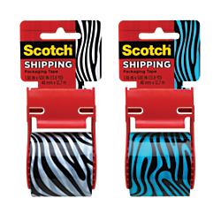 Scotch(R) Shipping And Packaging Tape, 2in. x 500in., Black/White or Black/Blue (No Color Choice)