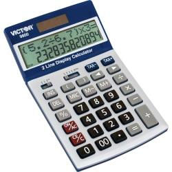 Victor Easy Check Two-Line Calculator - Extra Large Display, Tilt Display, Automatic Power Down, 3-Key Memory, Dual Power, Plastic Key, Battery Backup, Easy-to-