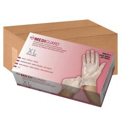 Medline MediGuard Vinyl Non-sterile Exam Gloves - X-Large Size - Vinyl - Clear - Powder-free, Ambidextrous, Latex-free, Durable, Beaded Cuff - For Multipurpose,