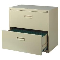 Realspace(R) SOHO Steel Lateral File Cabinet, 2 Drawers, 30in.W, Putty