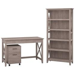 Bush Furniture Key West 48in.W Writing Desk With 2 Drawer Mobile File Cabinet And 5 Shelf Bookcase, Washed Gray, Standard Delivery