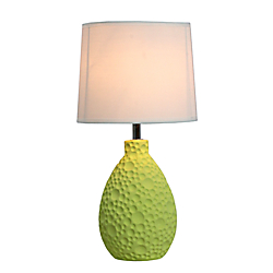Simple Designs Textured Stucco Table Lamp, 14in.H, White Shade/Green Base