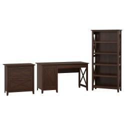 Bush Furniture Key West 54in.W Computer Desk With Storage, 2 Drawer Lateral File Cabinet And 5 Shelf Bookcase, Bing Cherry, Standard Delivery