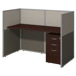 "Bush Business Furniture Easy Office Straight Desk Closed Office With 3-Drawer Mobile Pedestal, 44 15/16""H x 61 1/16""W x 30 9/16""D, Mocha Cherr"