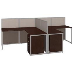 Bush(R) Business Furniture Easy Office 2-Person L Desk Open Office With Two 3-Drawer Mobile Pedestals, 44 7/8in.H x 60 1/25in.W x 119 9/10in.D, Mocha Cherry, Pr