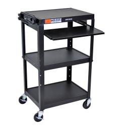 H.Wilson Adjustable Steel Audio\/Visual Presentation Cart With Keyboard\/Laptop Shelf, 42in.H x 24in.W x 18in.D, Black
