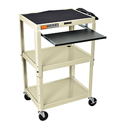 H.Wilson Adjustable Steel Audio\/Visual Presentation Cart With Keyboard\/Laptop Shelf, 42in.H x 24in.W x 18in.D, Putty